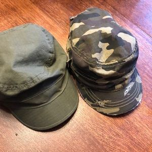 Camo hat and green hat